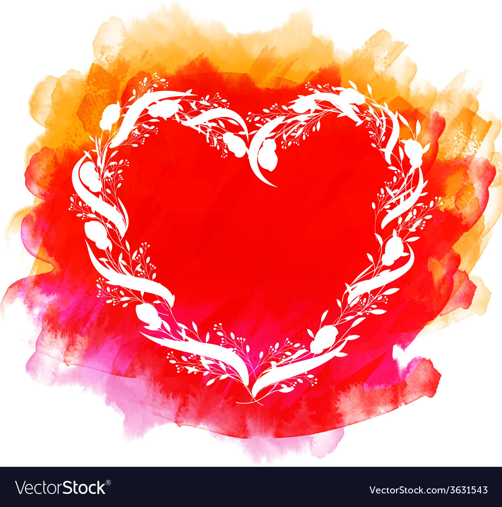 Watercolor heart with flowers vector image