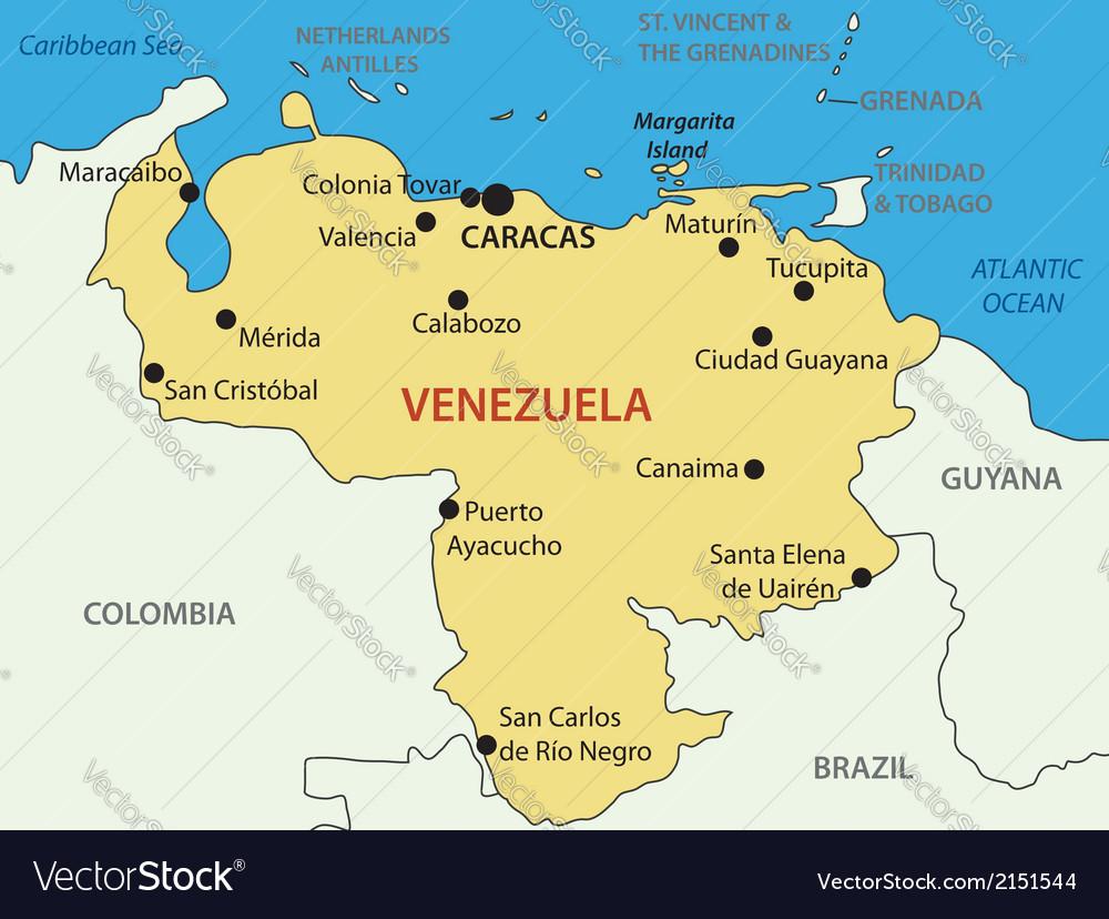 Bolivarian Republic Of Venezuela Map Royalty Free Vector - Venezuela map