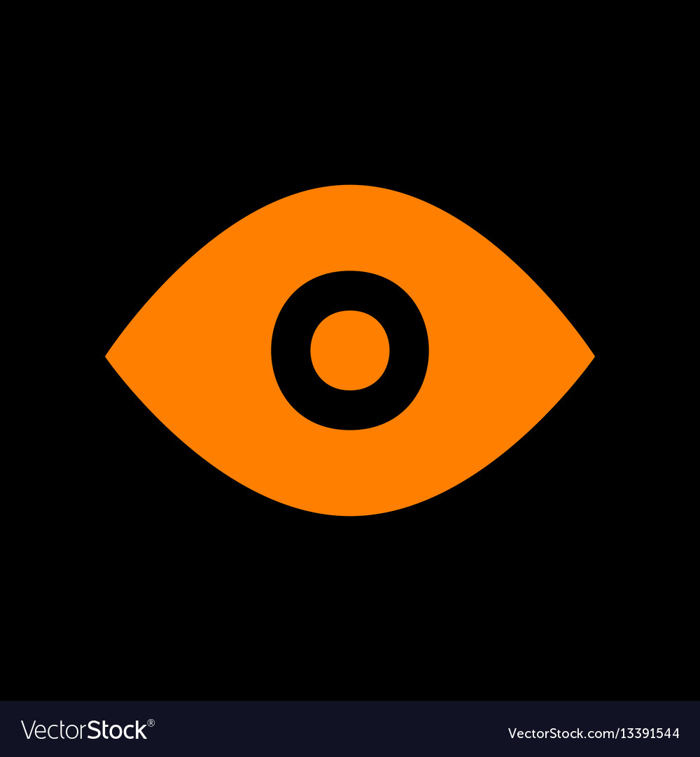 Eye sign orange icon on black vector image