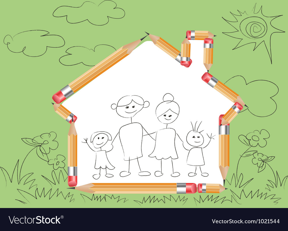 Pencil in house shape and doodle family vector image