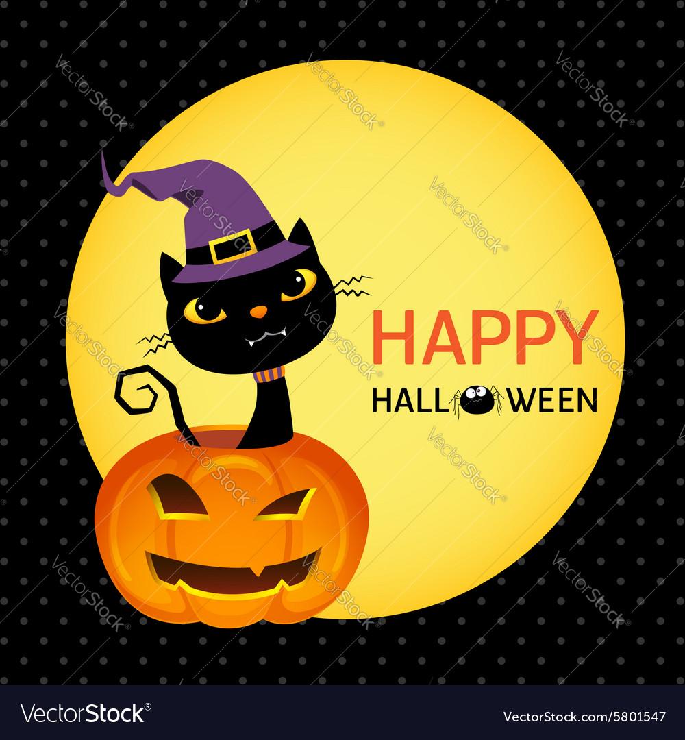 Cute black cat on a halloween pumpkin card vector image