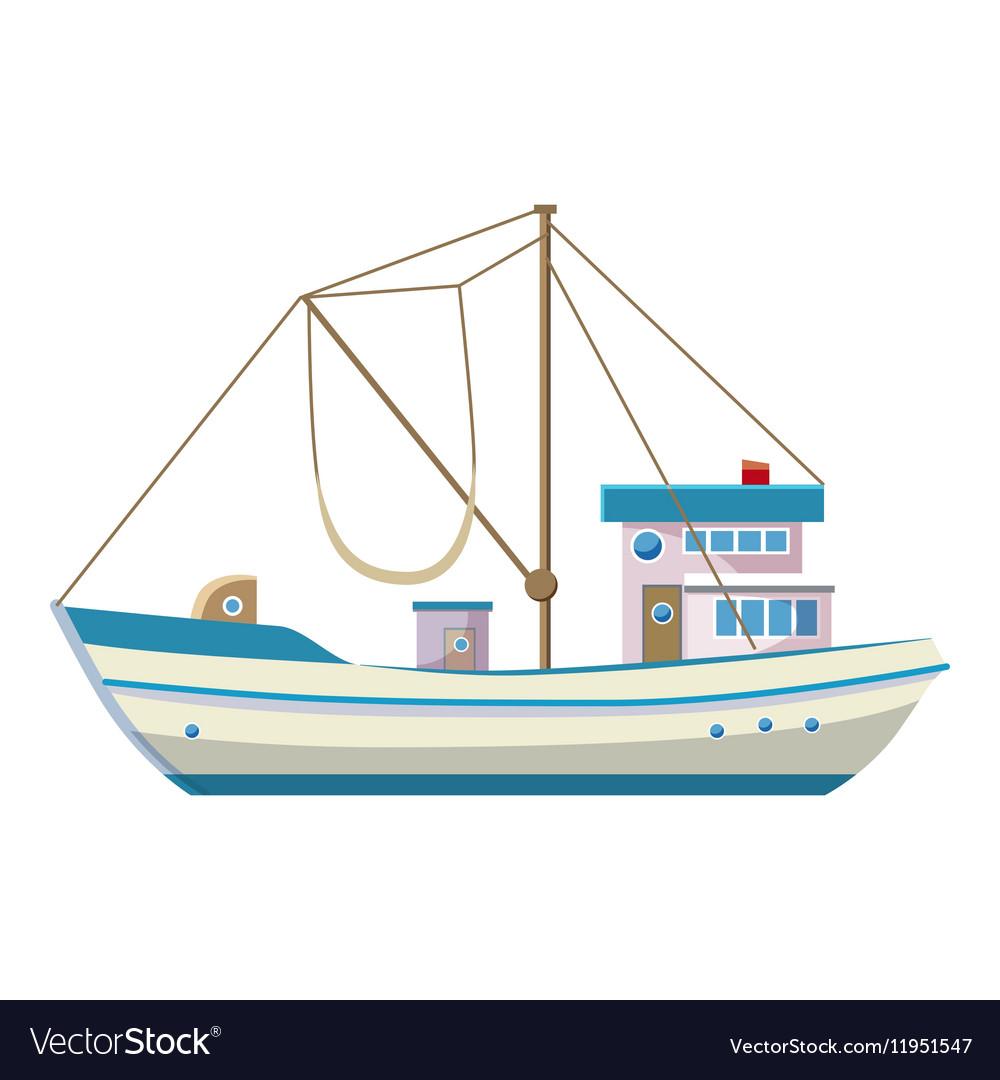 Fishing Boat Cartoon Fishing boat ic...