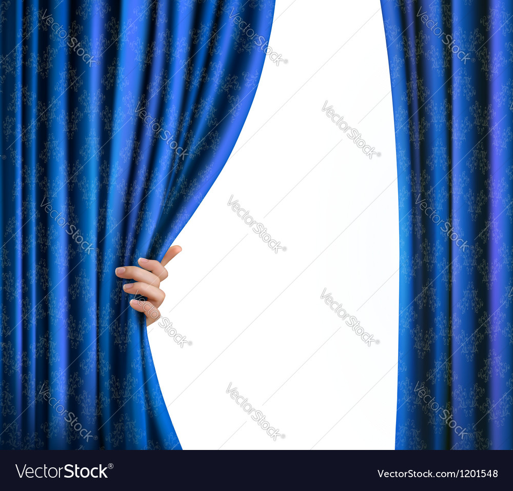 Background with blue velvet curtain and hand vector image