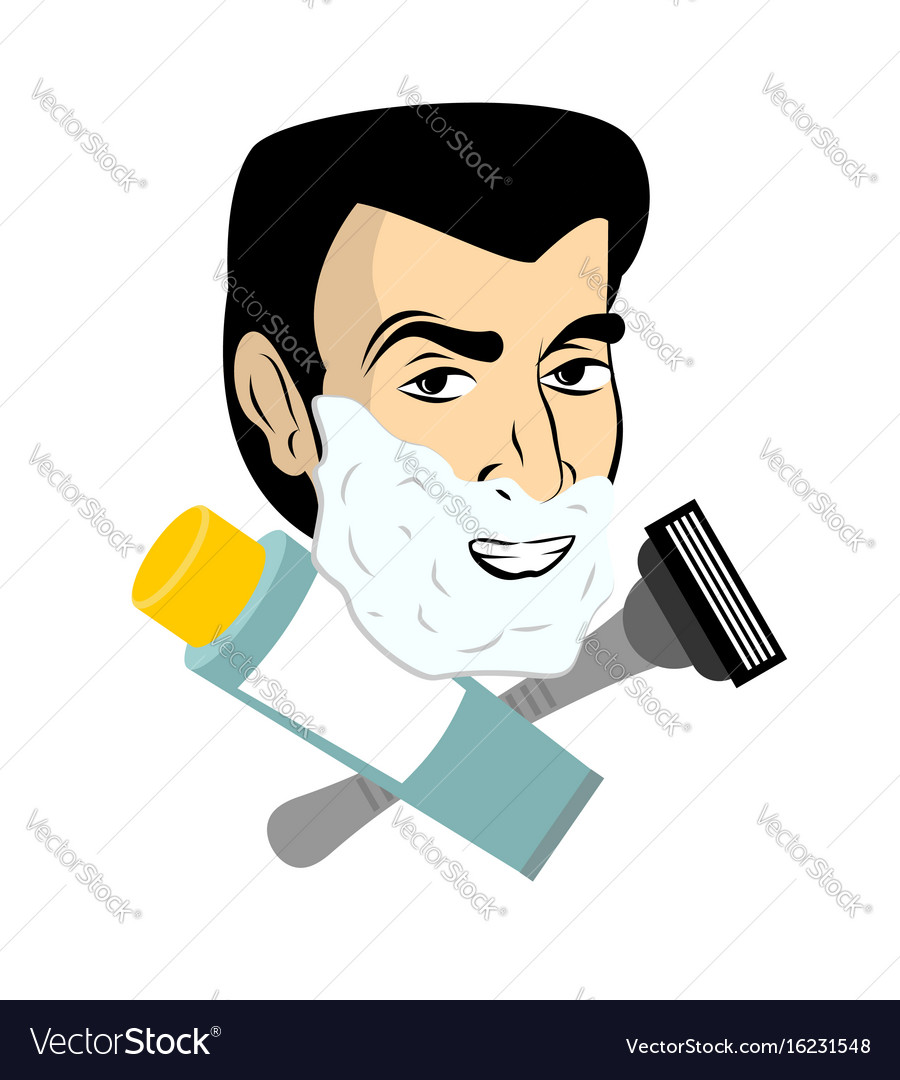 Man with shaving foam razor and tube shaving gel vector image
