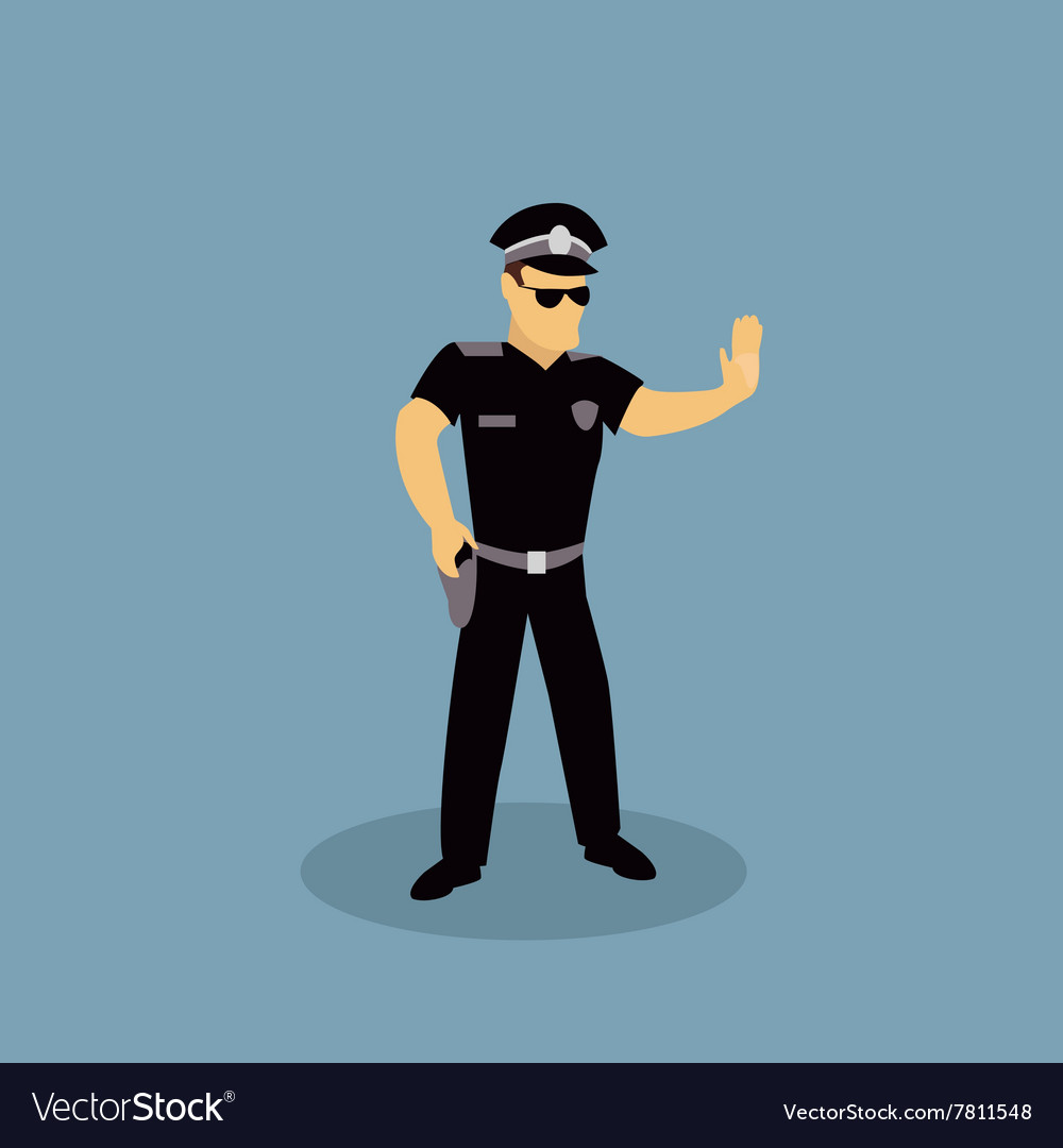Profession Police Character Design Flat vector image