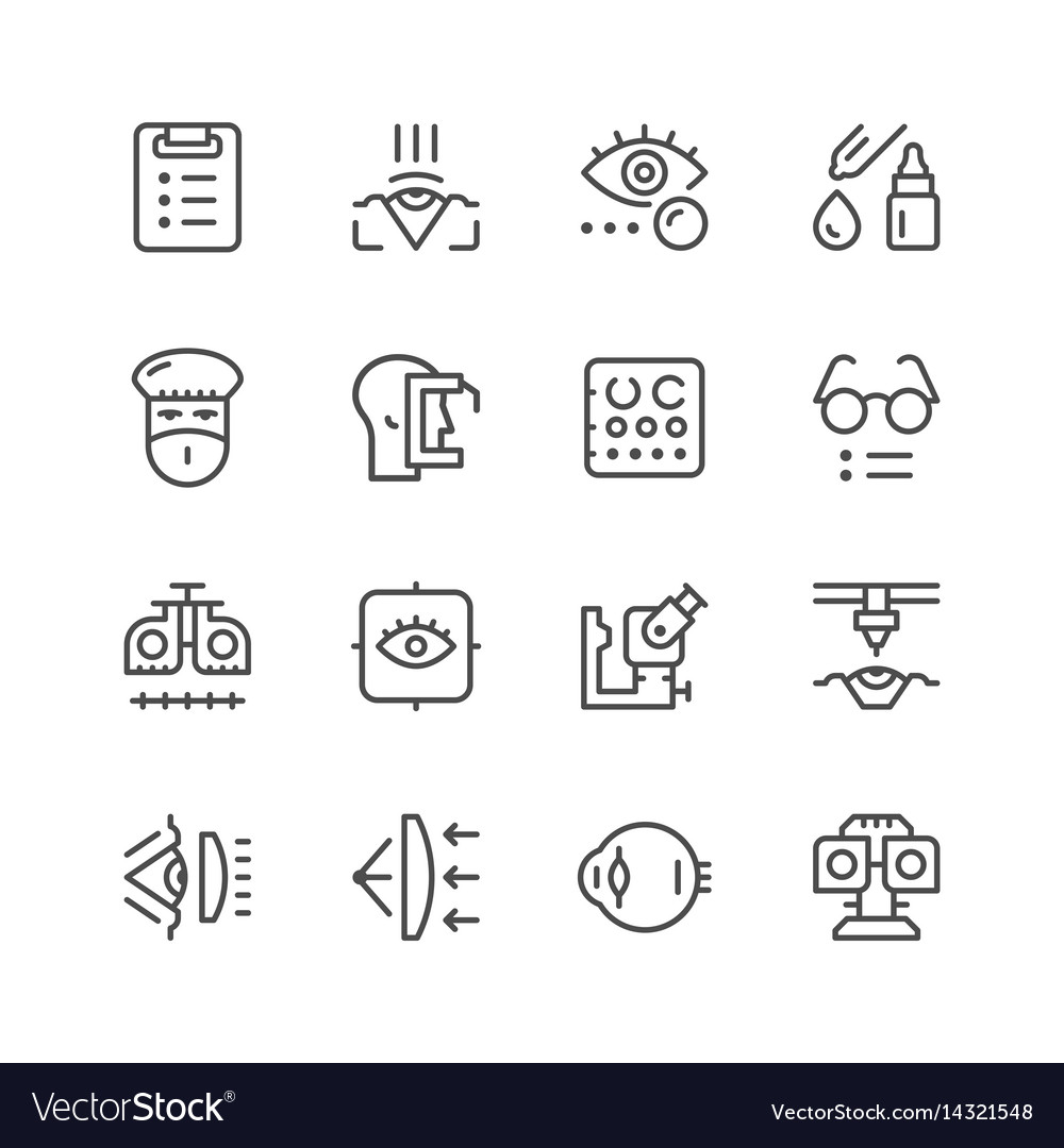 Set line icons of ophthalmology vector image