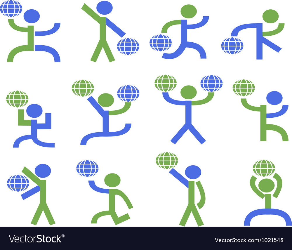 Symbol people lifting the earth vector image
