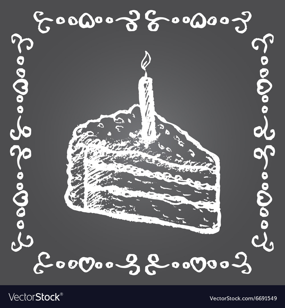 Chalk birthday cake and vintage frame vector image