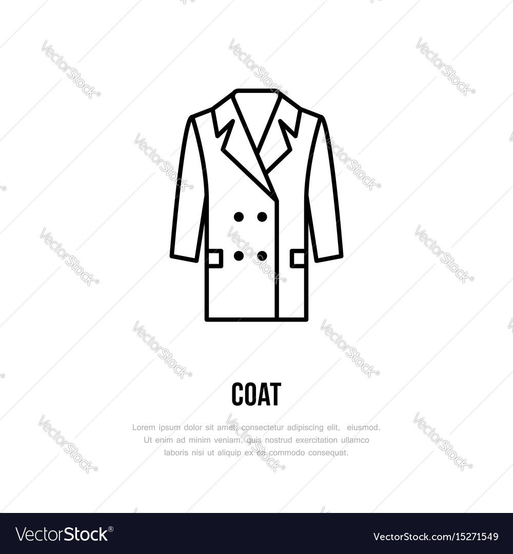 Coat icon clothing shop line logo flat sign for vector image