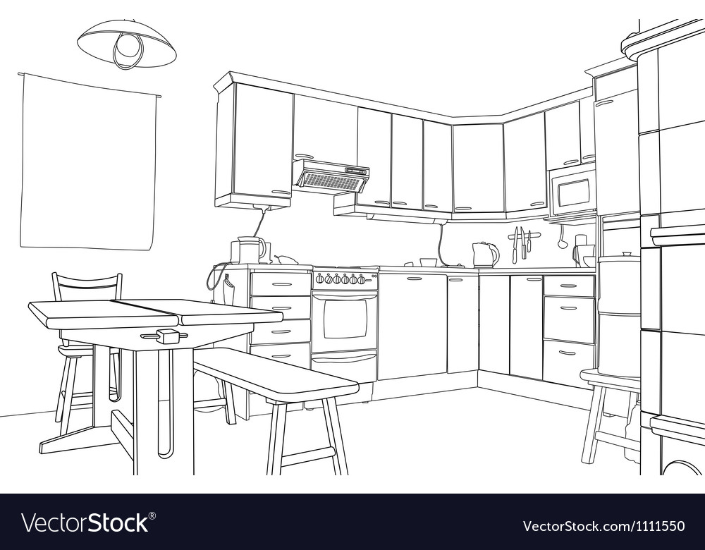 Kitchen sketch vector image
