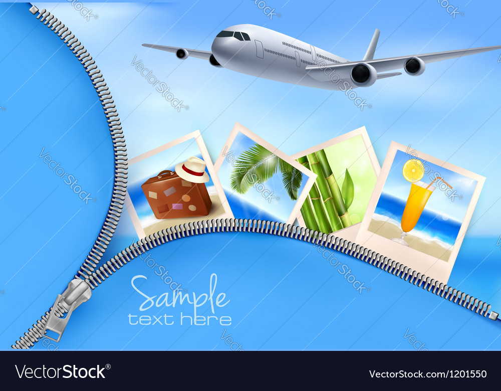 Background with airplane and with photos from vector image