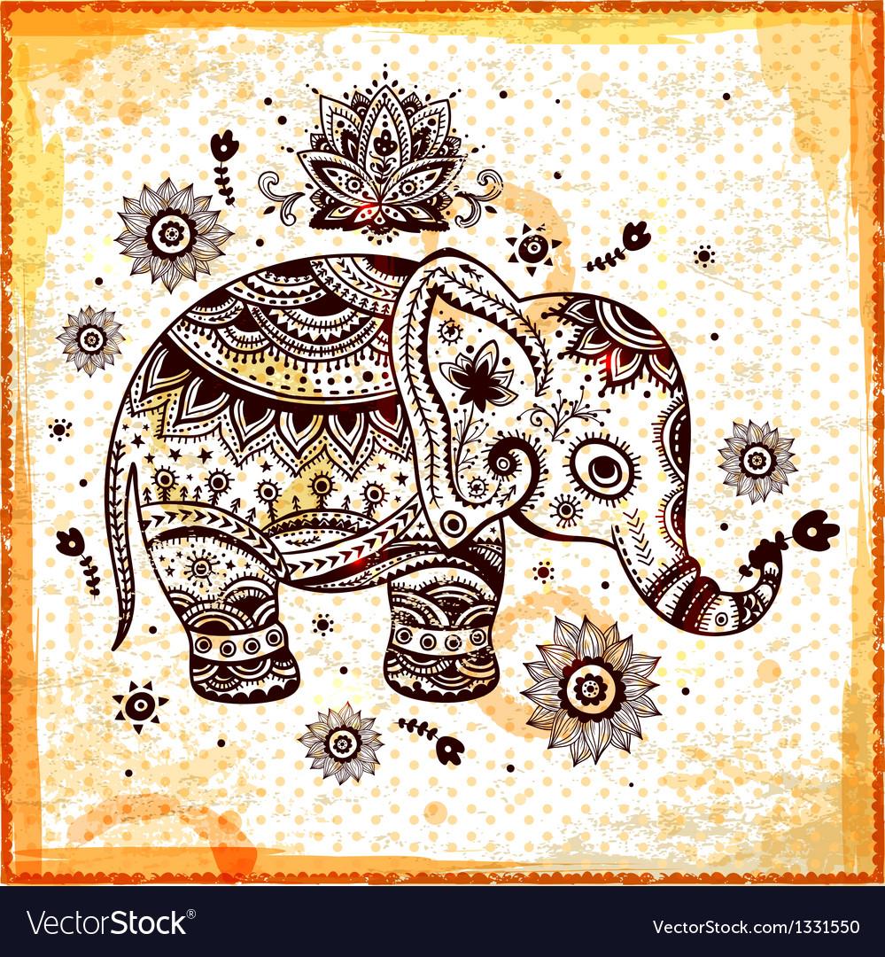 Beautiful ethnic elephant vector image