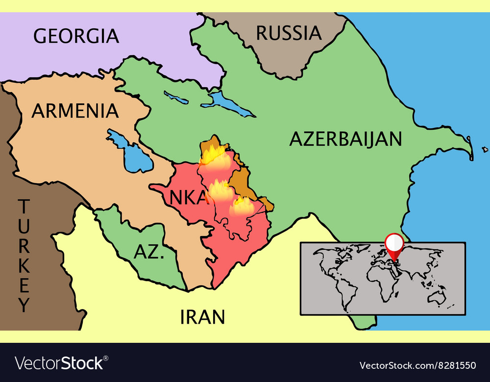 Nagorno Karabakh Republic map Royalty Free Vector Image
