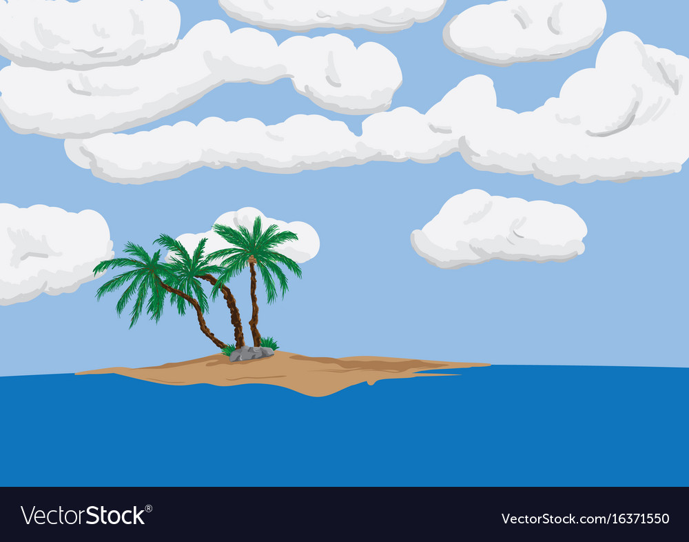 Palm tree on sand island vector image