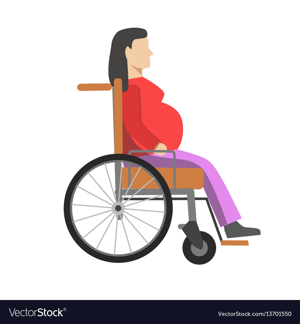 Pregnant woman sitting in wheelchair isolated on vector image