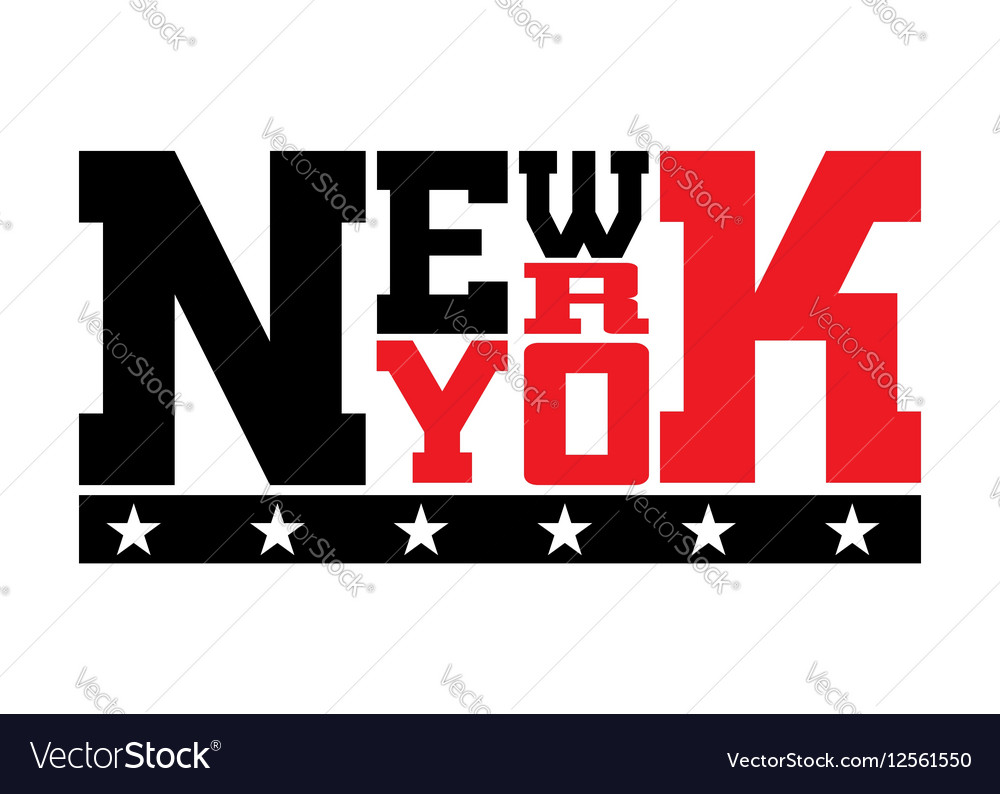 T shirt typography stars New York red vector image
