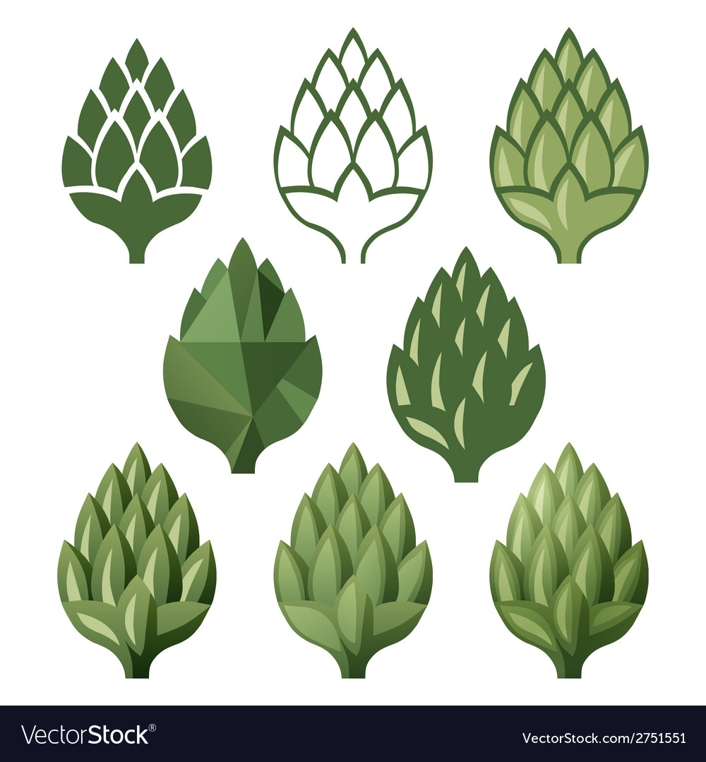 Stylized hop icons vector image