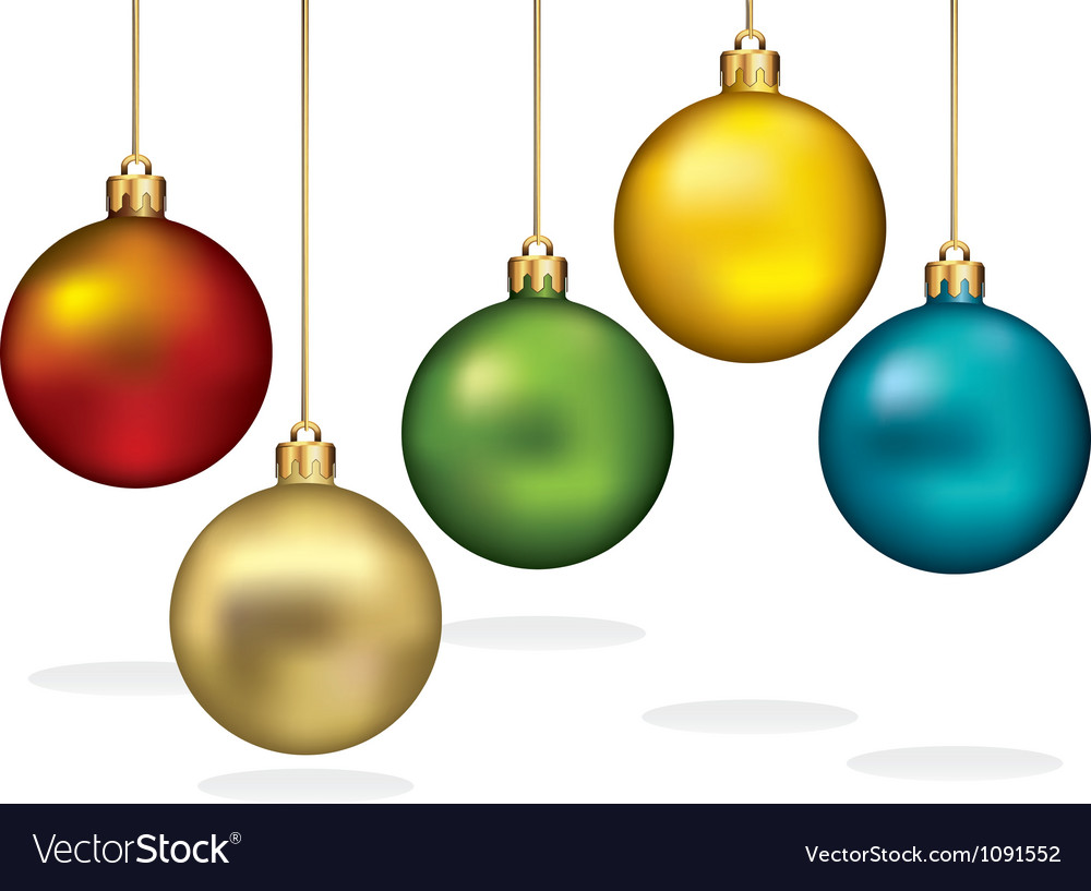 Color christmas ornaments hanging on gold thread vector image