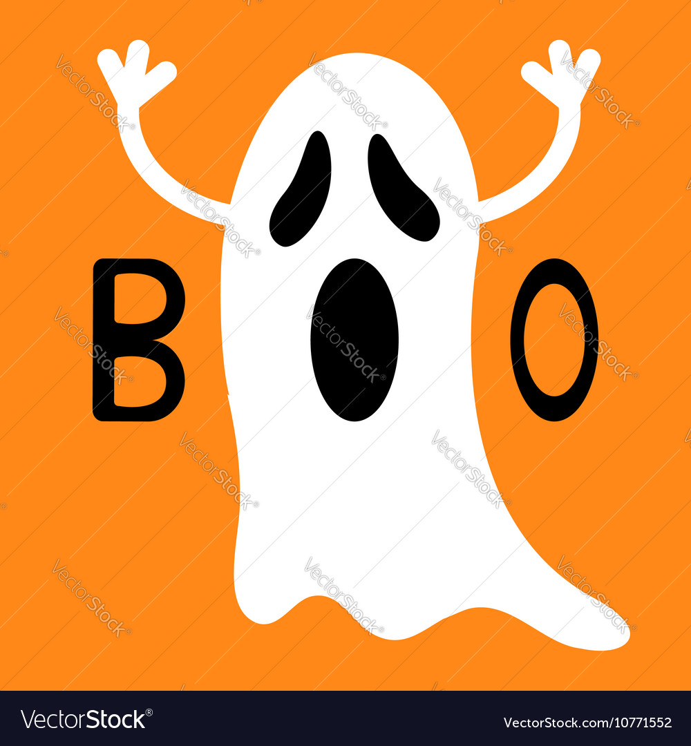 Happy Halloween Funny flying ghost with hands Boo Vector Image