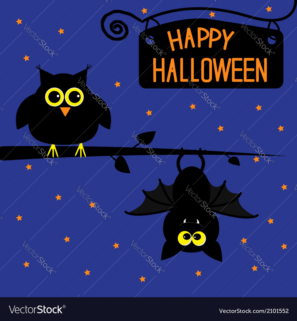 Happy Halloween owl and bat card Royalty Free Vector Image
