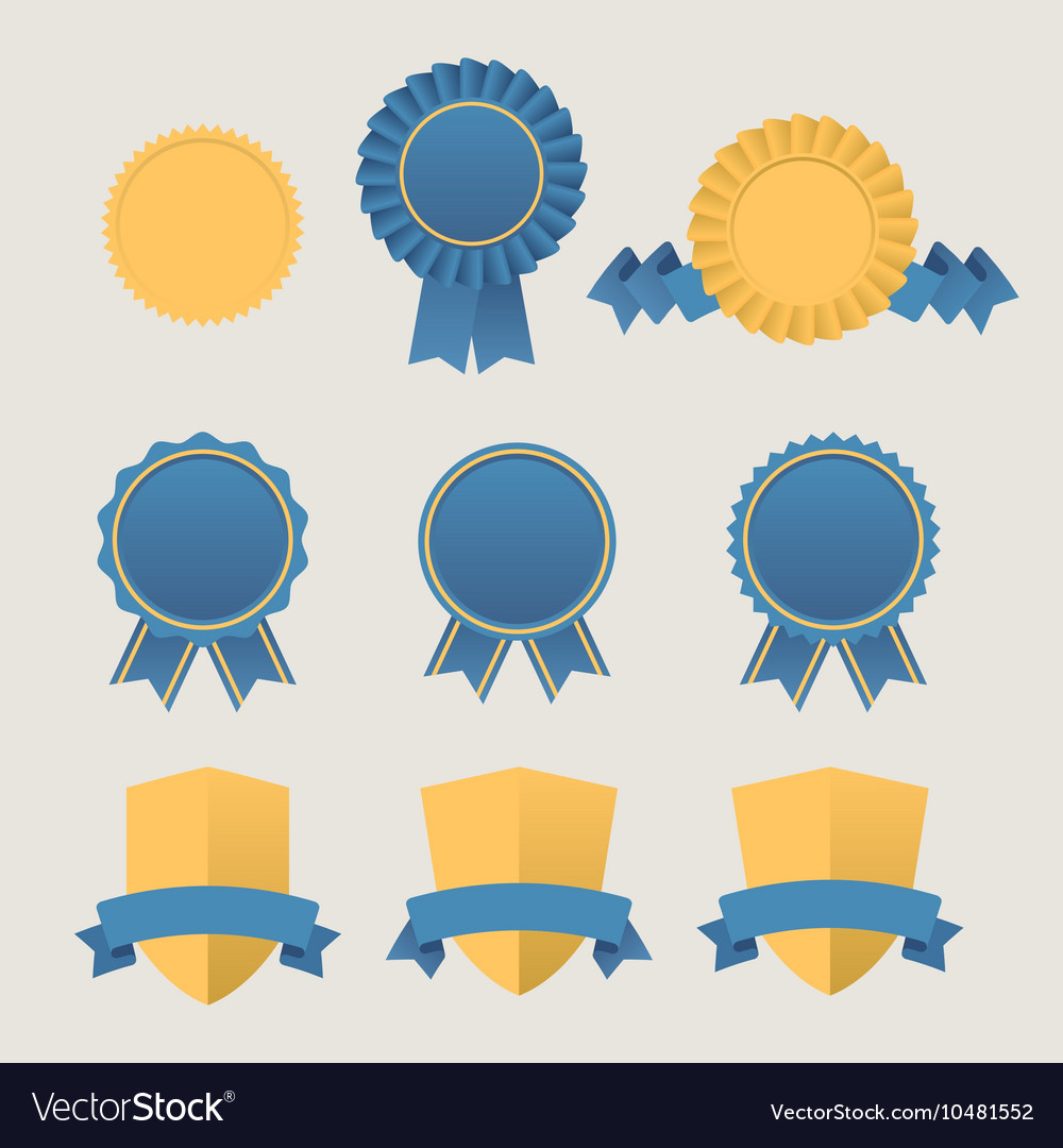 Heraldic emblem shields awards with ribbons vector image