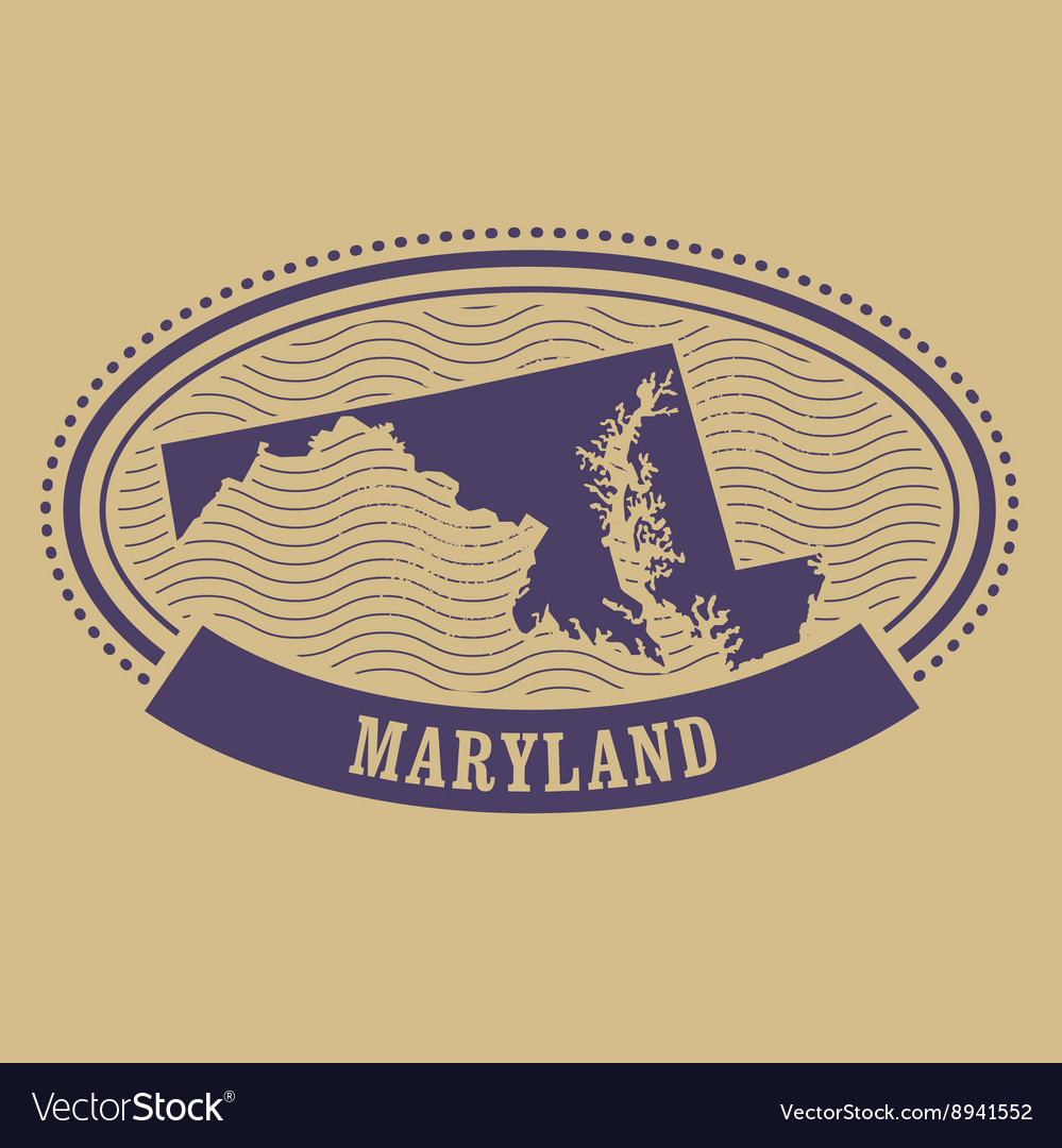 Maryland map silhouette oval stamp Royalty Free Vector
