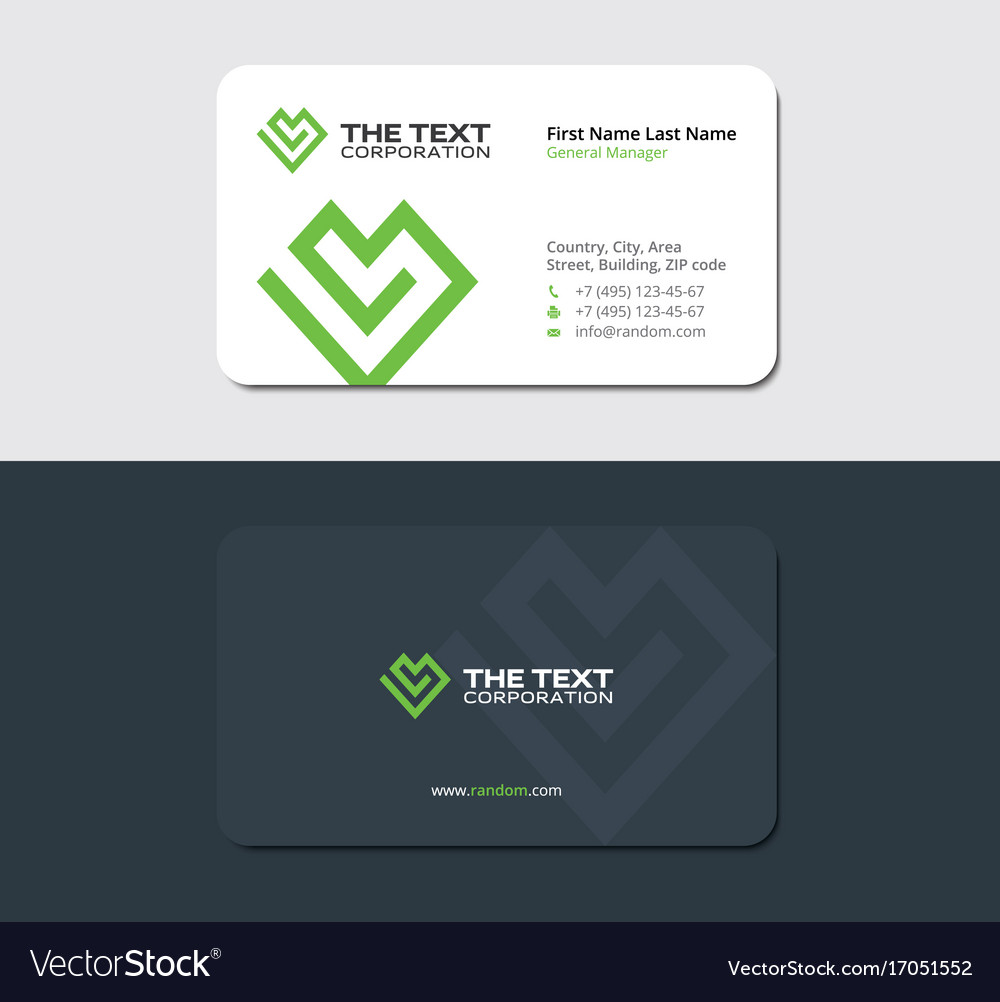 Sleek business card with a green heart royalty free vector sleek business card with a green heart vector image magicingreecefo Choice Image