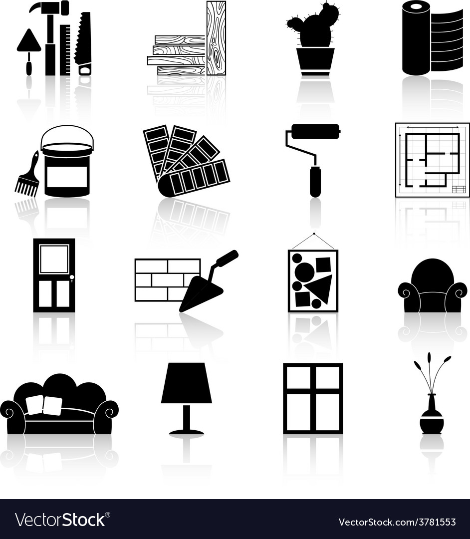 Interior Design Icons Black Royalty Free Vector Image