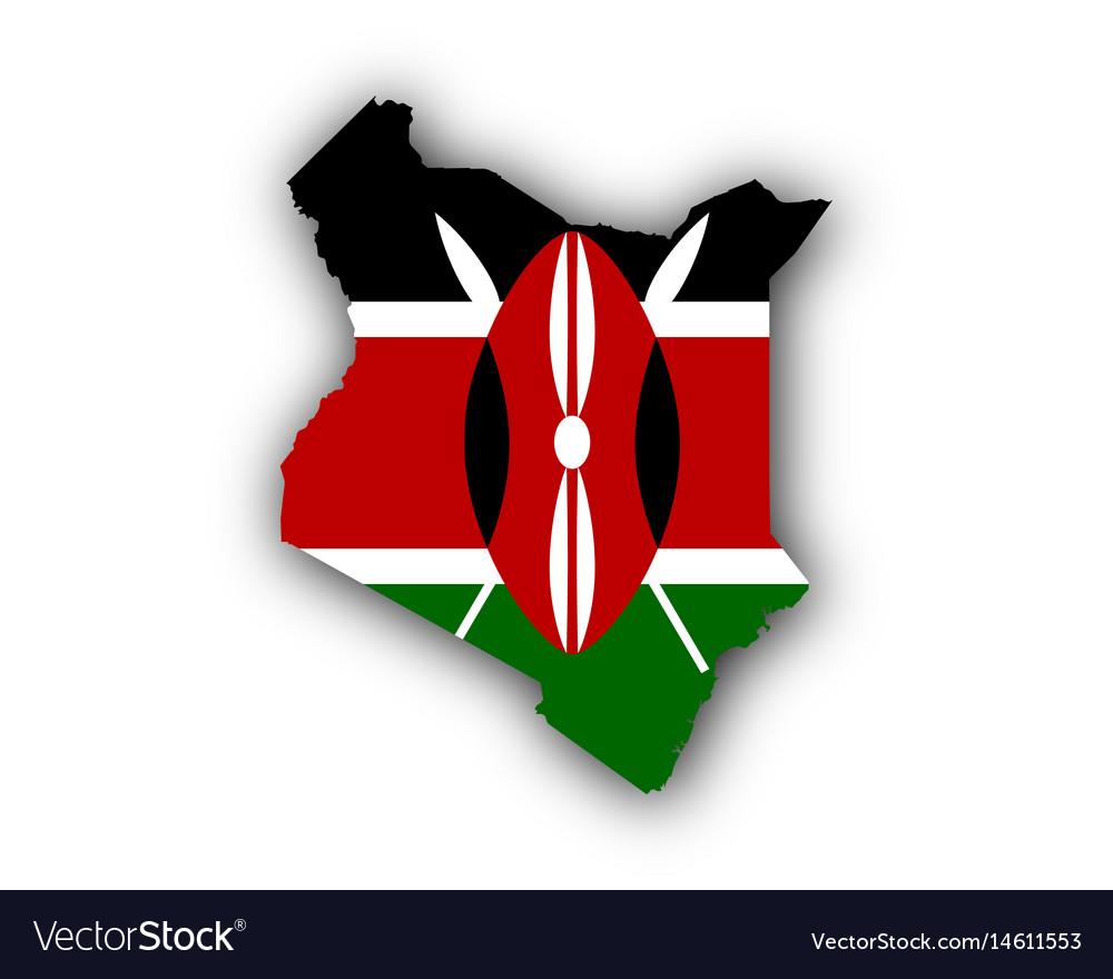 Map and flag of kenya vector image