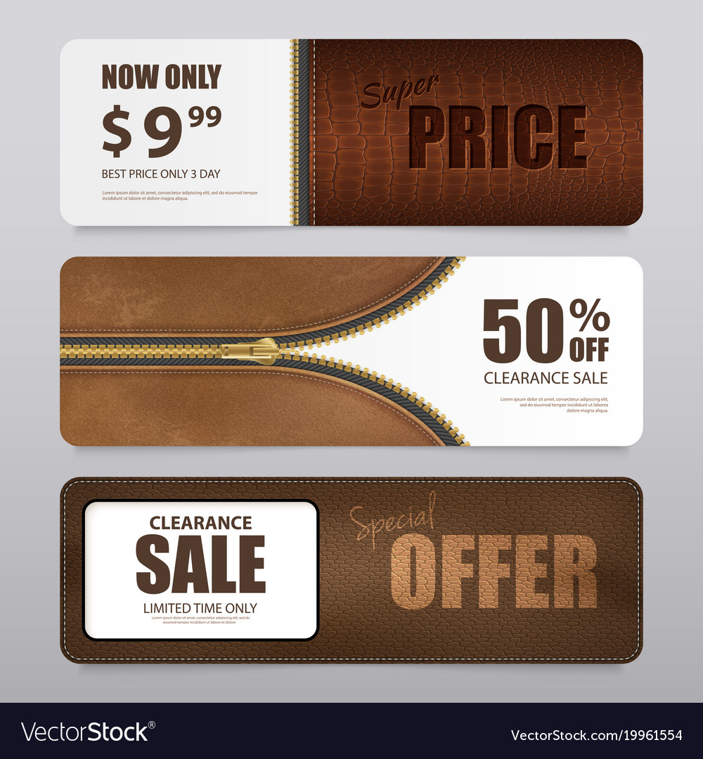 Realistic leather texture sale banners vector image