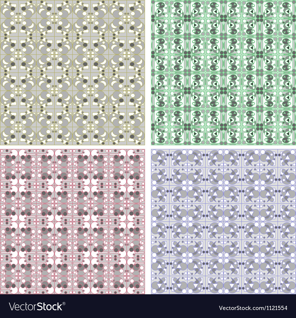 Set of Damask seamless floral pattern Vintage vector image