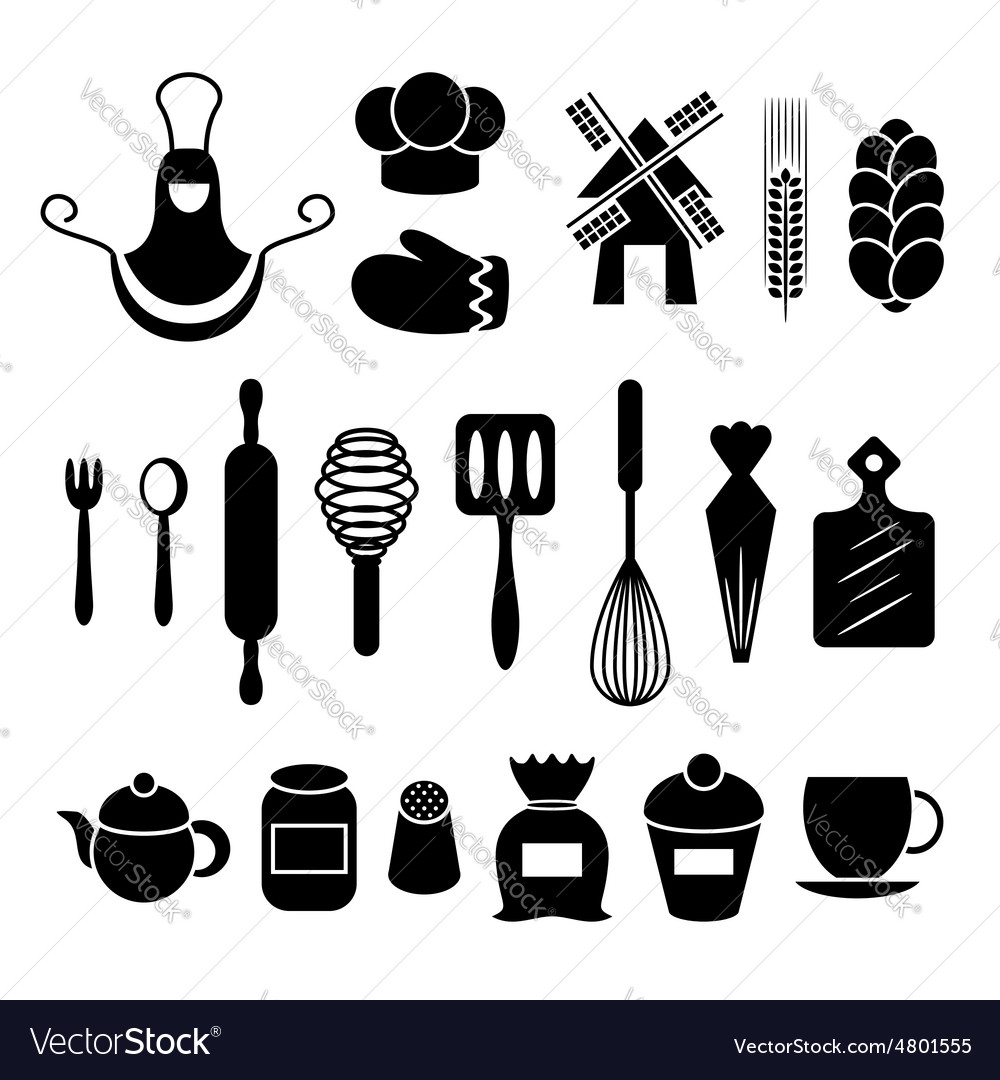 Baking kitchen tools silhouettes set Royalty Free Vector