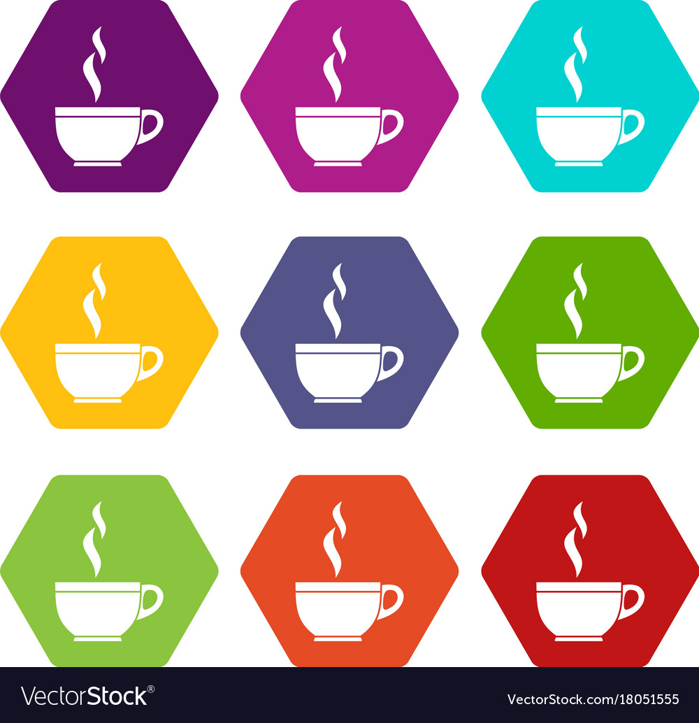 Glass cup of tea icon set color hexahedron vector image