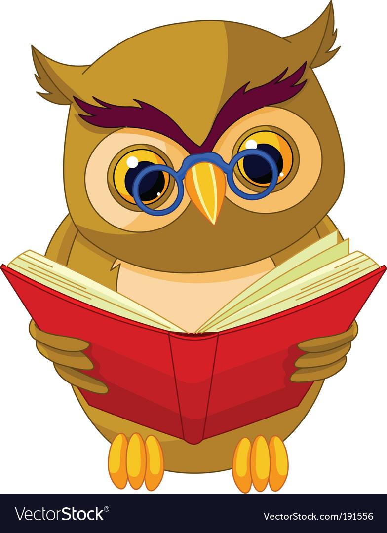 Wise owl cartoon vector image