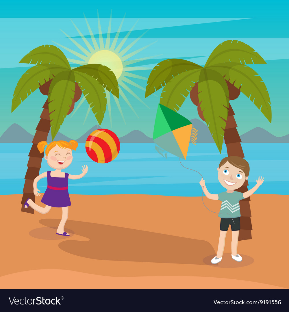 Children Sea Vacation Girl Playing Ball on Beach vector image