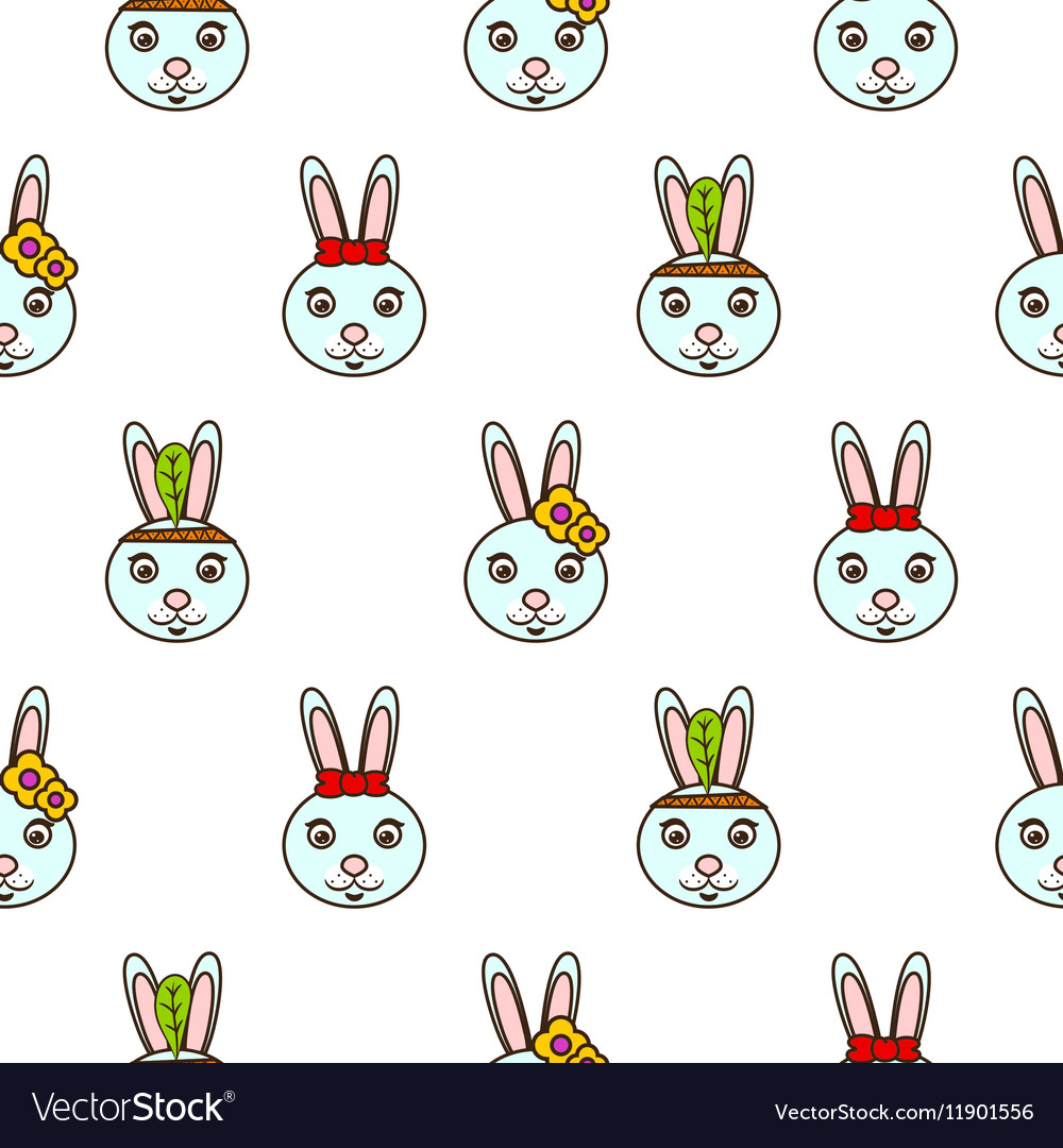 Cute blue bunny seamless baby pattern vector image