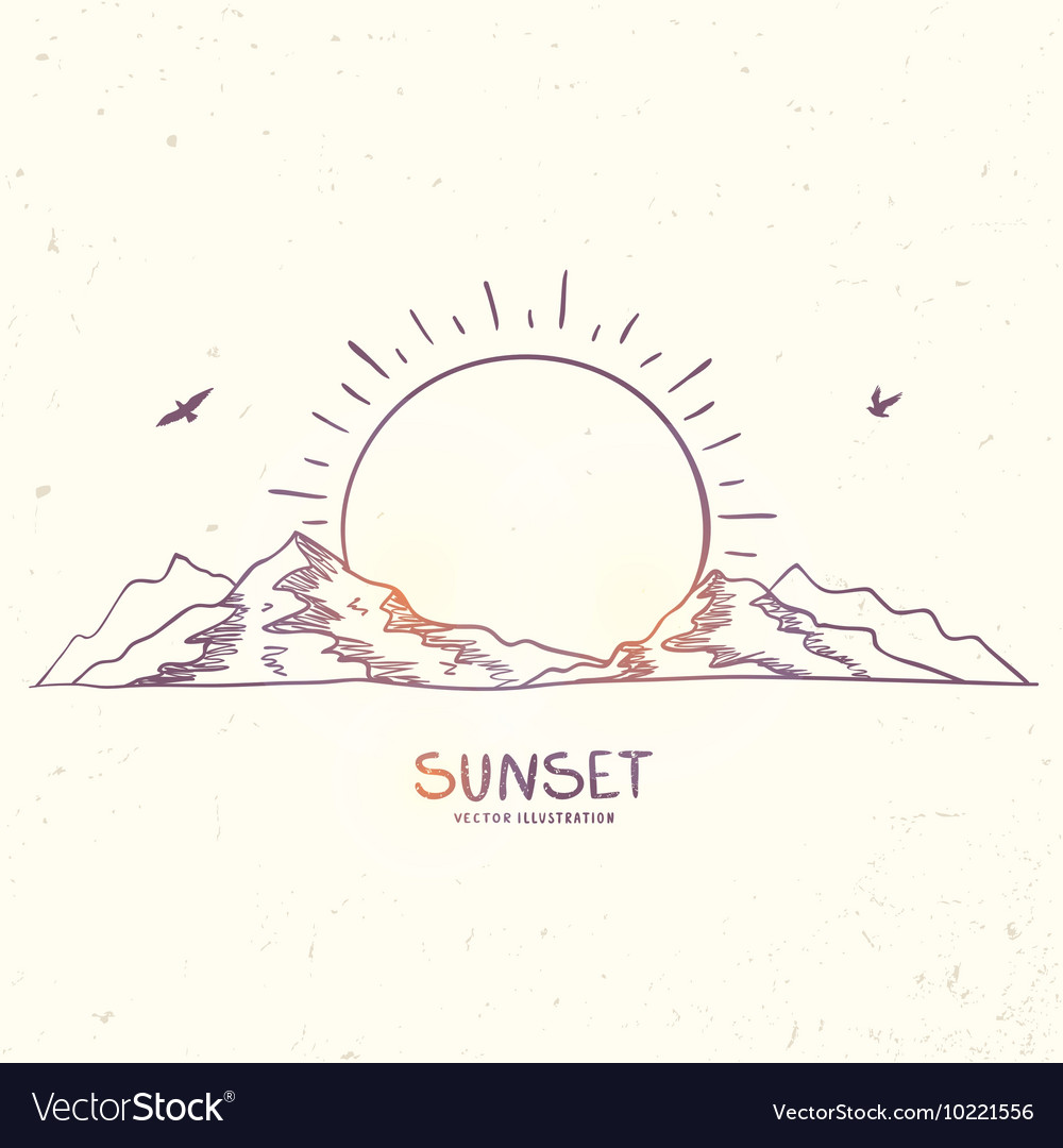 Mountain sunset doodle vector image
