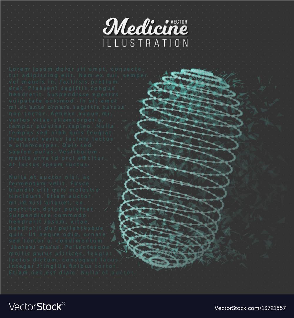 Medicine pill polygonal wireframe pill vector image