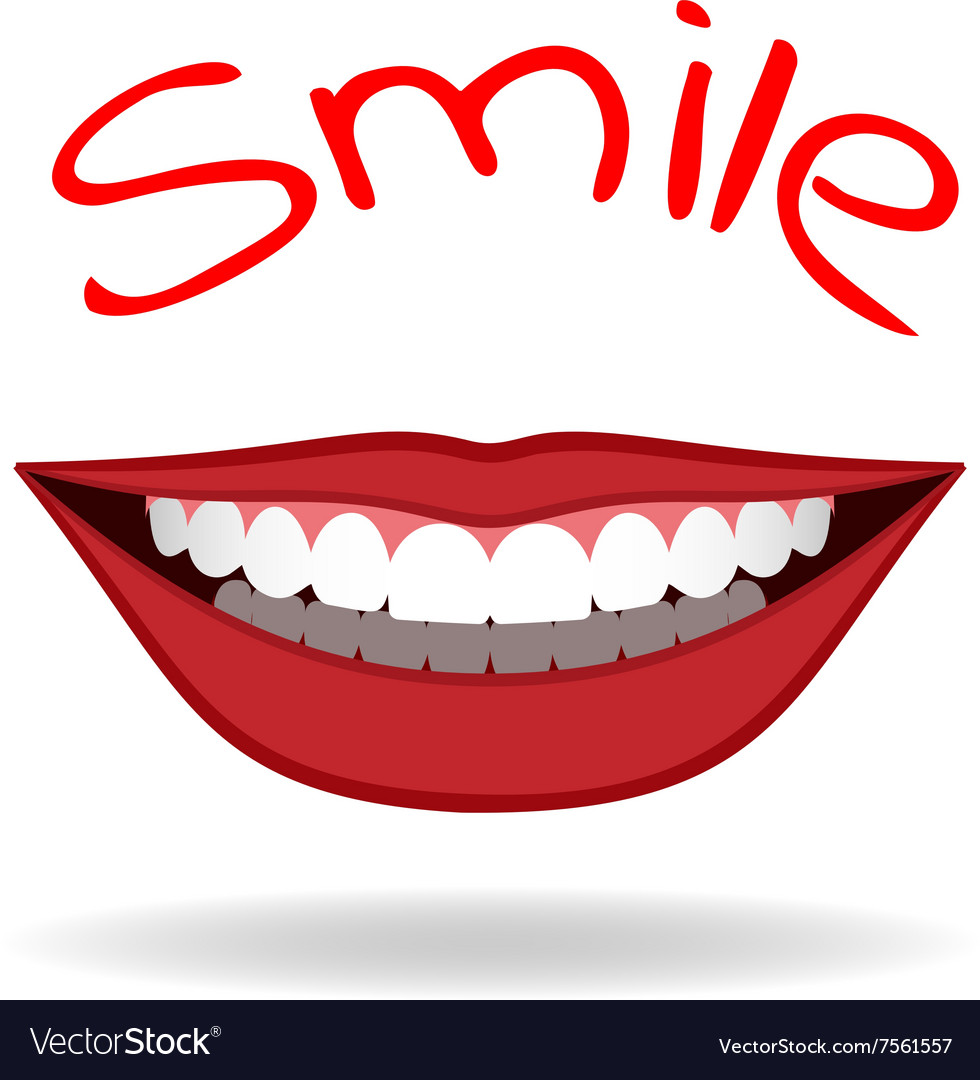 Realistic smile isolated on white vector image
