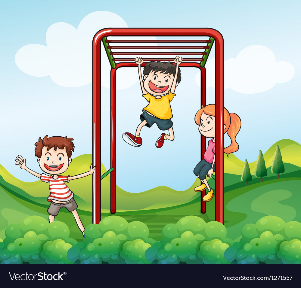 Three kids playing at the park vector image