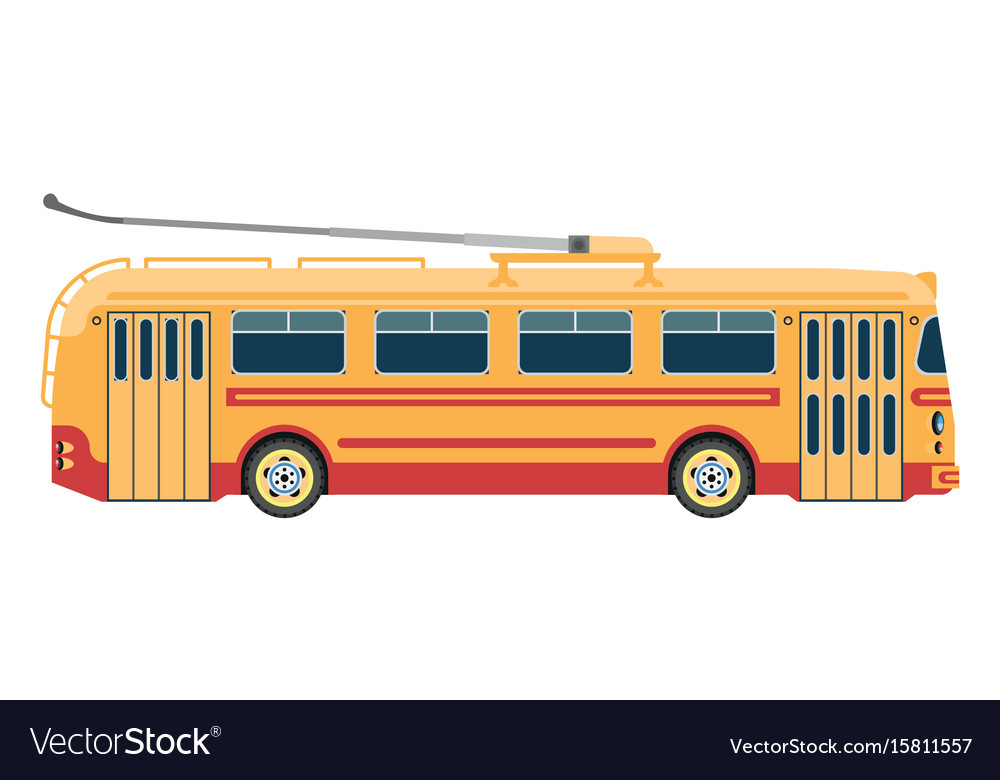 Trolleybus public transport or electric trolley vector image