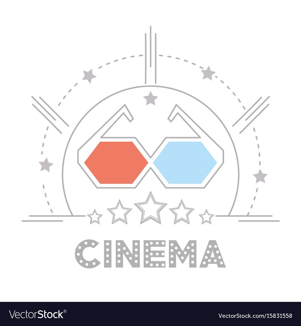 3d glasses to cinema short film vector image