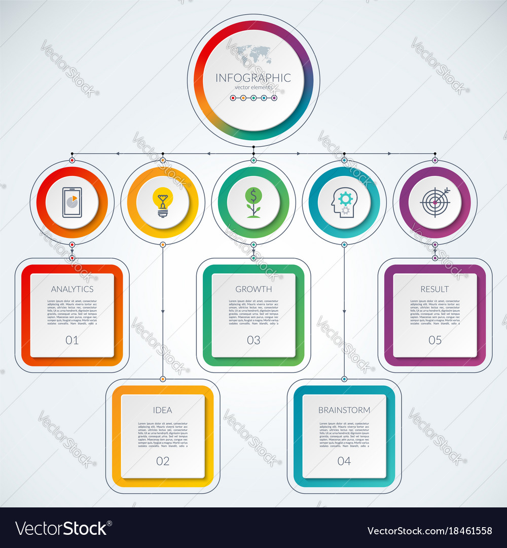 Business infographic template with 5 steps vector image