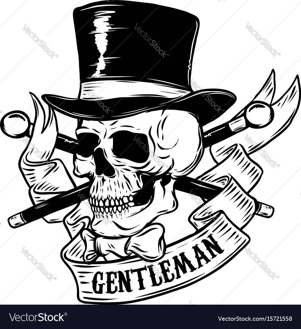 gentleman skull in vintage hat design element for vector image. Black Bedroom Furniture Sets. Home Design Ideas