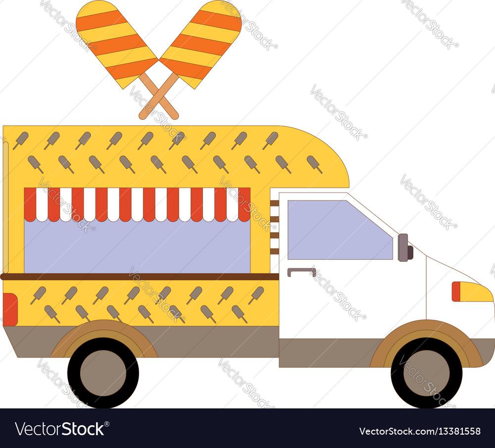 Street ice cream truck food caravan ice cream vector image
