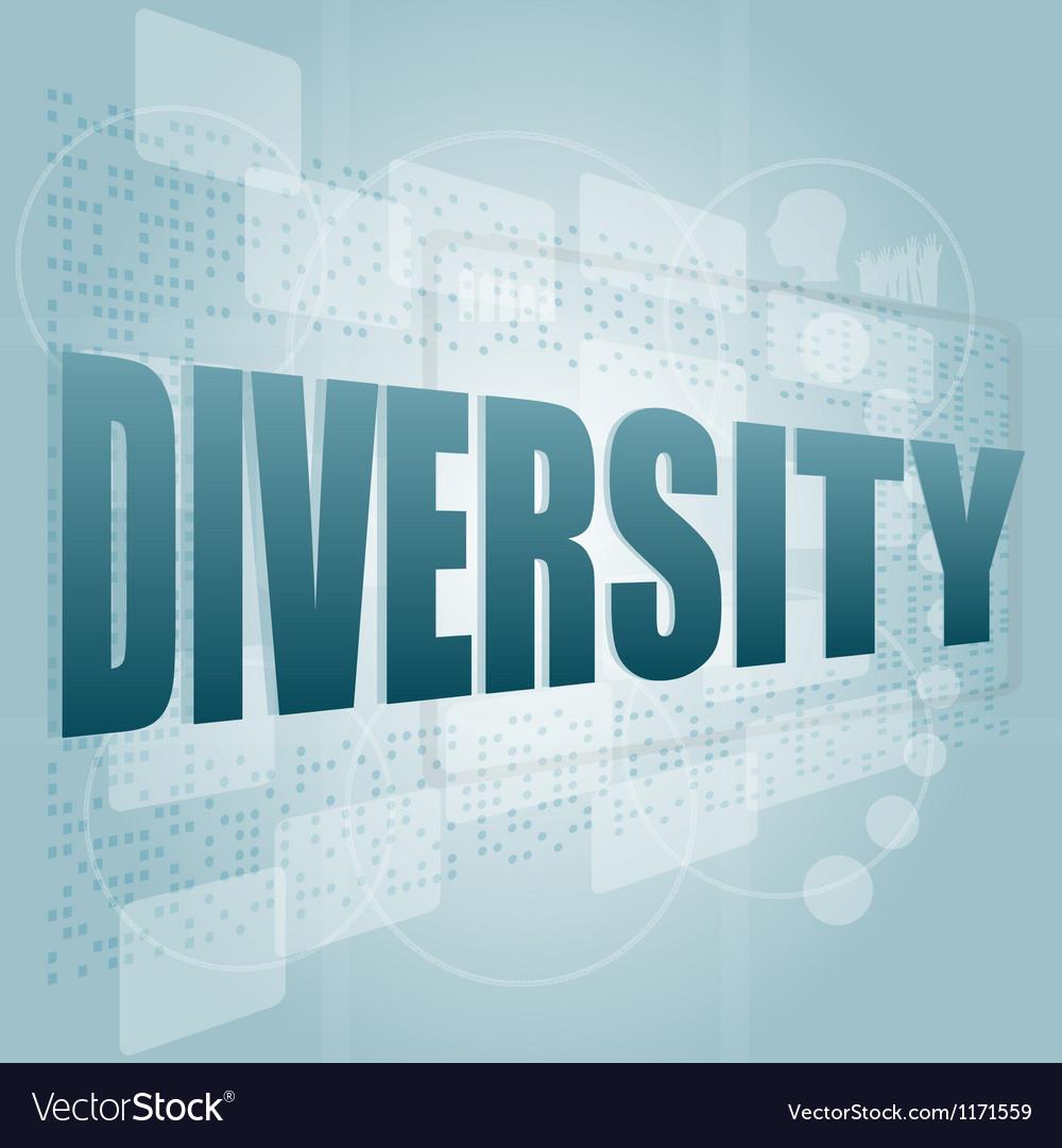 Pixelated words diversity on digital screen - vector image