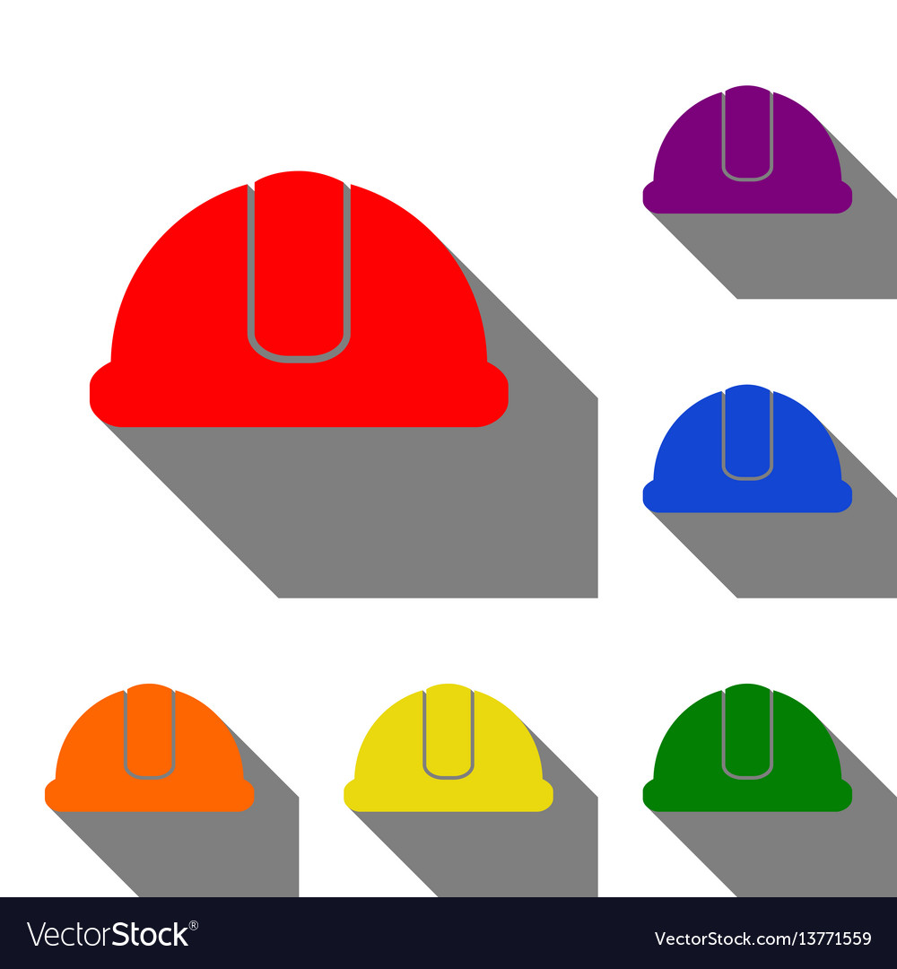 Hardhat sign set of red orange yellow green vector image