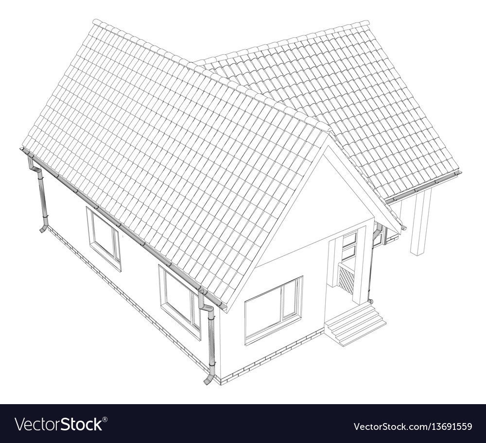 Wire-frame building on the white background eps vector image