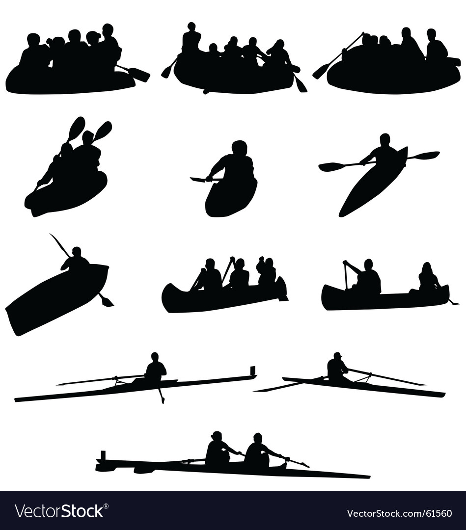 Rowing silhouettes vector image