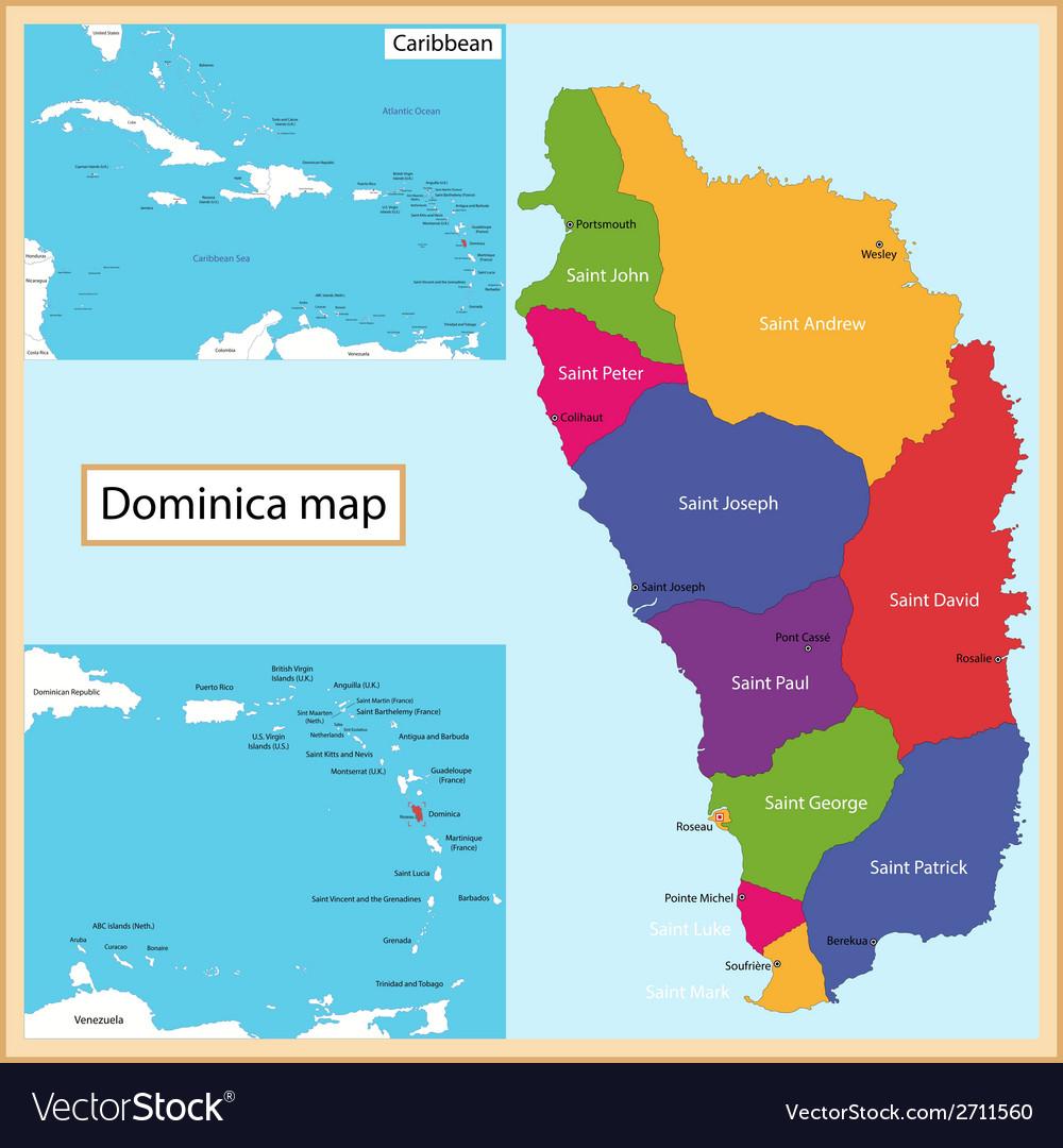 Dominica map Royalty Free Vector Image VectorStock